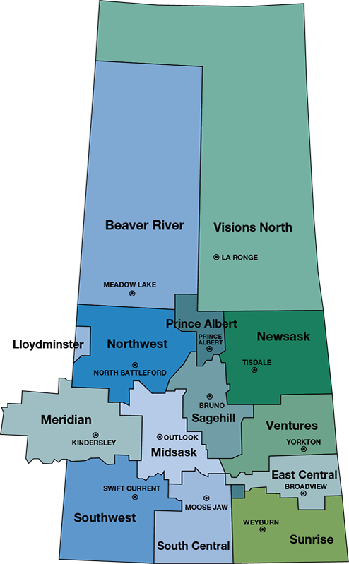 Community Futures Saskatchewan Regional Map