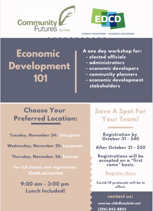 Register now for upcoming Economic Development 101 Workshops